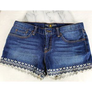 Lucky Brand Riley Denim Flower Jean Shorts